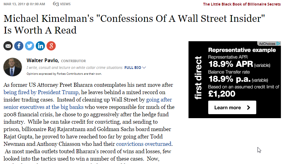"""Forbes: Michael Kimelman's """"Confessions Of A Wall Street Insider"""" Is Worth A Read"""