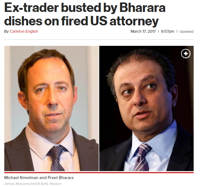 New York Post: Ex-trader busted by Bharara dishes on fired US attorney